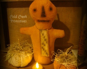 Primitive Pumpkin Halloween Stump Doll