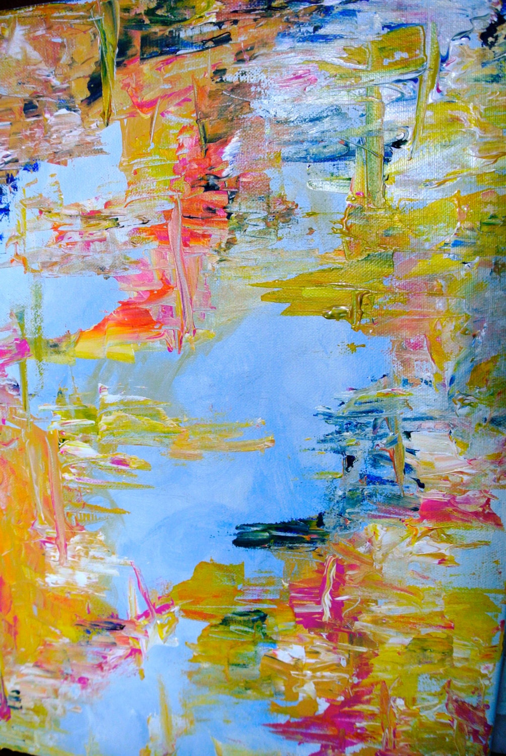 Original acrylic painting abstract palette knife painting for Palette knife painting acrylic