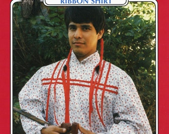 Missouri River Cherokee Indian Man's Ribbon Shirt Sewing Pattern size S-XL Native American