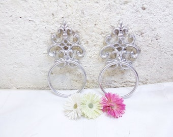 2 Distressed Towel Holder/Towel Ring/Cast Iron Decor/Shabby Metal Decor/Kitchen Towel Holder/Bathroom Towel Holder/Metal Decor
