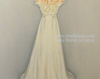 As seen on Style Me Pretty: CUSTOM Wedding Dress Illustration Painting in OIL by LARA 11x14 Mother of the Bride