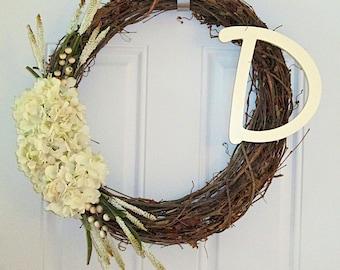Monogram Grapevine Wreath with Spring Floral Arrangement - Door Wreath - Home Decor -  Front Door Wreath