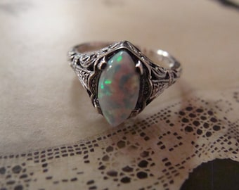 Lovely Sterling Opal Filigree Ring Size  5.75