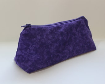 Zippered Flat Bottom Makeup Bag Pencil Case Tonal Purple with Zebra Print Lining