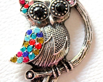 Silver Owl On Branch With Colourful Rhinestones Pendant