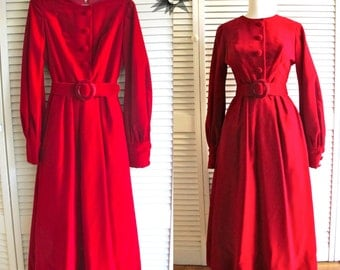 Vintage 1950's/60's Bob Mackie/Ray Aghayan for Balliet's Red Velvet Gown with Full Skirt  and Long Sleeves Size XS/Petite