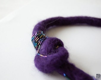 Deep Purple necklace, Felted necklace, Beaded necklace, Wool rope necklace, Fiber art jewlery, Dark purple choker, Gothic Jewelry