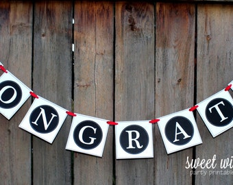 Congrats Grad! Printable Banner-By Sweet Willow Designs