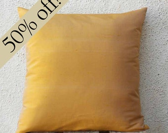 "Gold Pillow, Silk Dupioni Pillow, Silk pillow, Pillow Cover, Neutral Pillow, 15x15 Pillow,  - ""HALF PRICE SALE""- s19F"