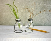 Set of TWO Mini recycled 25 watts light bulb vase wooden metal stand upcycled