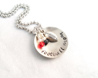 FOOTBALL MOM NECKLACE, Hand Stamped,  Mom Jewelry, Sports Jewelry, Team Colors with keychain option