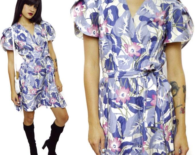 Vintage 80s Leslie Fay Little Floral Dress Sz 6