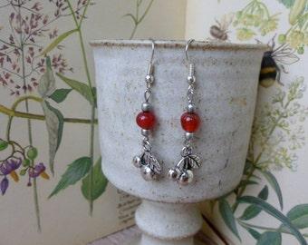 Handmade Cherry And Bead Earrings, Silver Dangle Earrings
