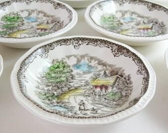 4 Vintage Fruit Bowls - Shakespeare's Sonnet Ironstone Dishes - Kensington Stafford Made in England - Dessert Bowls - Summer Cottage Decor