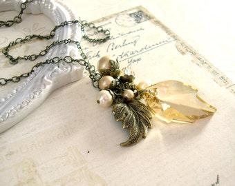 Golden Autumn Necklace- Swarovski Crystal Antique Victorian Vintage Style Gold Leaf Necklace - Antique Brass - Bronze Autumn Wedding Jewelry