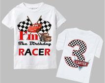 Disney Cars Birthday Shirt - Double Sided - Checkered Logo Design