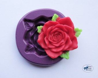 Rose and Leaf Mold/Mould -  Silicone Molds - Polymer Clay Resin Fondant