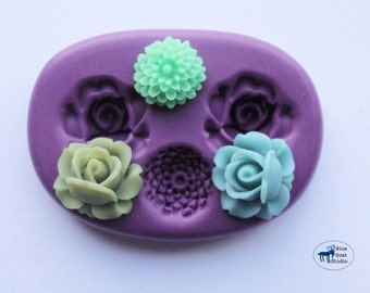 Mini Rose and Mum Mold/Mould - Silicone Molds - Polymer Clay Resin Fondant