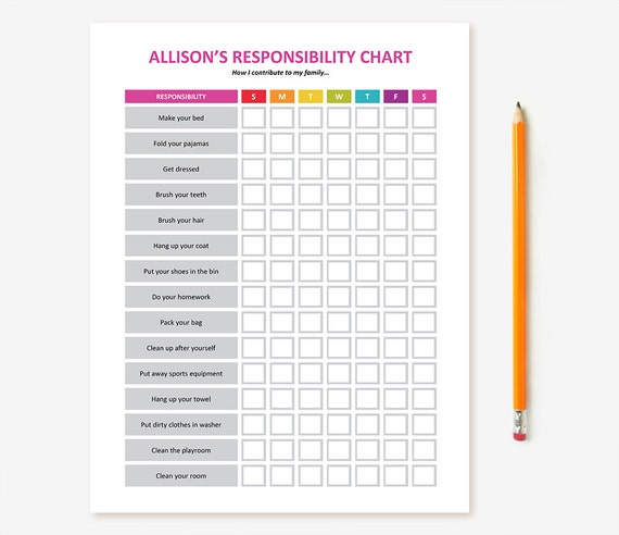 printable kid u0026 39 s chore chart