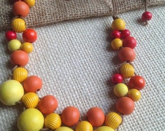 Wooden Bib Necklace burnt orange & yellow/Woven/Bubble/Contemporary/Boho/Statement/Fashion/70's/Brides Maids