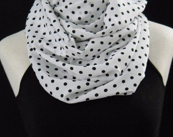 The White & Black Polka Dot Infinity Scarf - Lightweight Chunky Infinity Scarf - White and Black Polka Dots