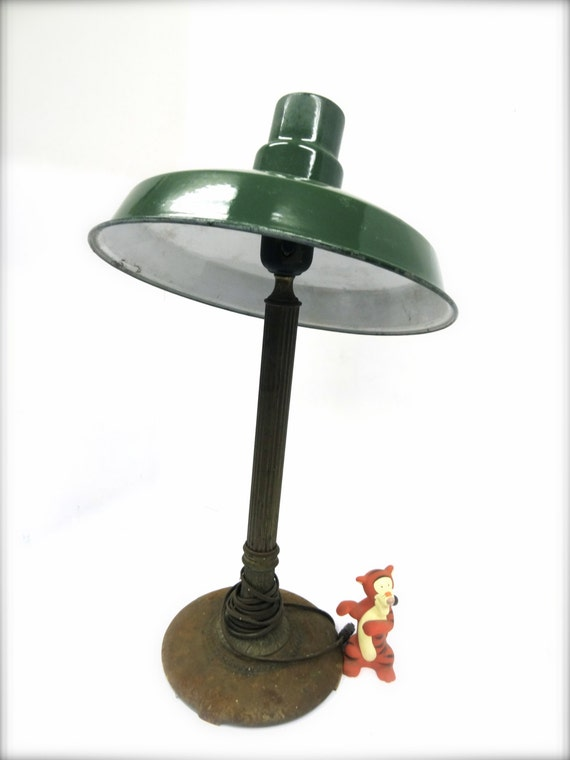 Vintage green enamel industrial light shade Office lighting