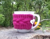 Pink Mug Cozy with Heart, Handmade, Hand Knit, Bright Pink Coffee Sleeve, Back to School Gift