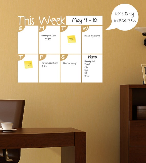 Dry Erase Weekly Calendar : Large dry erase calendar weekly by shopsimplyperfect