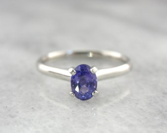 Platinum and Purple Sapphire Small Engagement Ring - M8MFM6-P