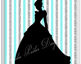 Princess Inspired Wall Art, DIY Printable, Princess Cinderella Print, Wall Decor