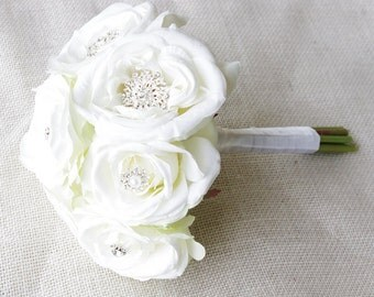 Silk Brooch Wedding Bouquet - Off White Roses and Brooch Jewel Small Bride Bouquet - Rhinestones