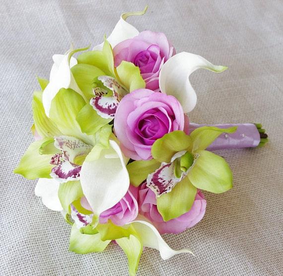 Seide Hochzeit Bouquet von Orchideen und Callas-Weg weiß grün