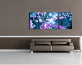 3 Piece Set, Fine Art Print Set, Flower Photography, Print Set of 3, Oversized Wall Art, Nursery Decor, Photography Prints- Summers Mist