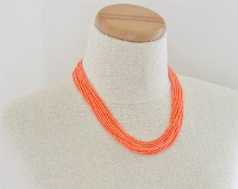 Iridescent orange necklace,orange necklace, statement necklace, bridesmaid necklace, beaded necklace,seed beads,bridesmaid necklace,summer