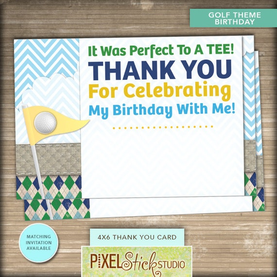 4x6 golf birthday thank you card      instant download      1st