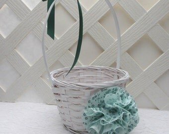 Mint Green Flower Girl Basket, Mint Green Floral Wedding Basket, Mint Green Wedding, Matching Items Available