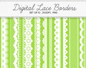 Digital Lace Borders Frames / INSTANT DOWNLOAD / Clip Art Set of 10 / 117