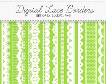 Digital Lace Borders Frames / INSTANT DOWNLOAD / Clip Art Set of 10 / 117