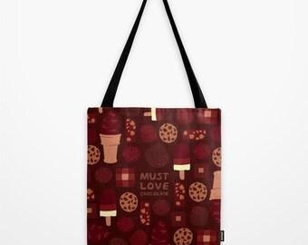 Must Love Chocolate Tote Bag, Brown Shoulder Bag