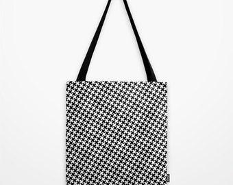 Houndstooth Tote Bag, Black & White Pepita Print Shoulder Bag