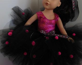 """Doll Tutu, 18"""" Doll Tutu, Doll Pompom Tutu, Doll Black Tutu"""