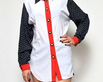SALE! Vintage 80's Oversized Color Block White Polka Dot Shirt