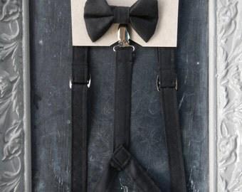 Boys Suspenders Bow Tie set Black
