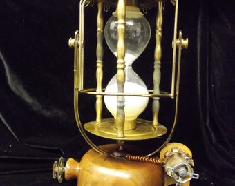 "RESERVED: ""The Time Divider"" Steampunk Upcycled Gimballed Hourglass"