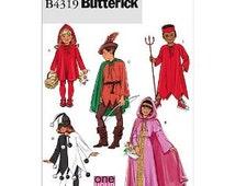Butterick B4319  Youth Riding Hood Robinhood Princess Maid Marian Devil Jester Clown Costume Sewing Pattern