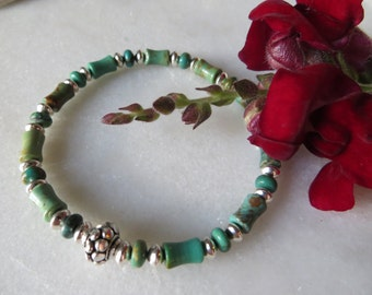 Turquoise Bracelet, Southwest Turquoise Bracelet, Sterling Silver Bracelet, Silver Bracelet, December Birthstone Bracelet, Stretch Bracelet