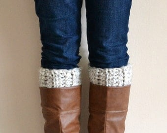 Wheat Chunky Boot Cuffs // Boot Socks, Button Legwarmers, Boot Toppers