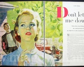 Ray Prohaska art girl in bright sunlight vintage illustration 1955 Magazine Clipping