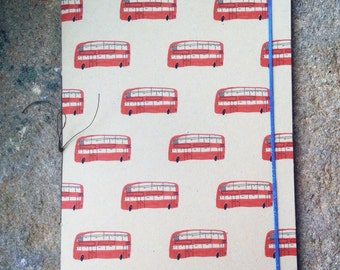 London Bus Handmade Recycled A5 Notebook