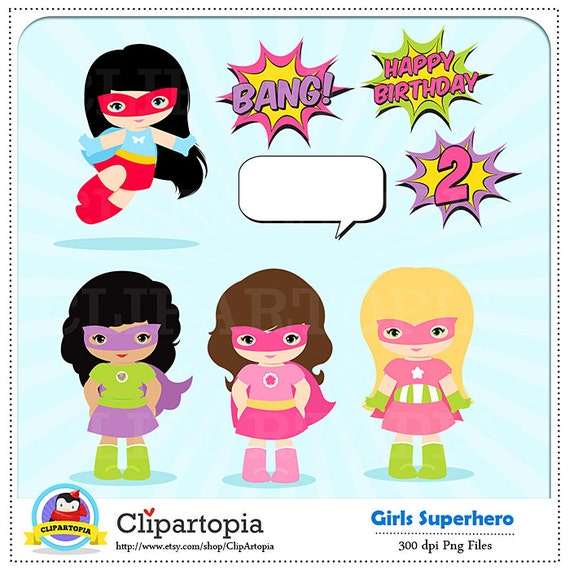 Girl Superhero Clip Art Super Hero Girls Digital Clipart
